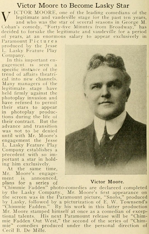 A feature on the popular Victor Moore.