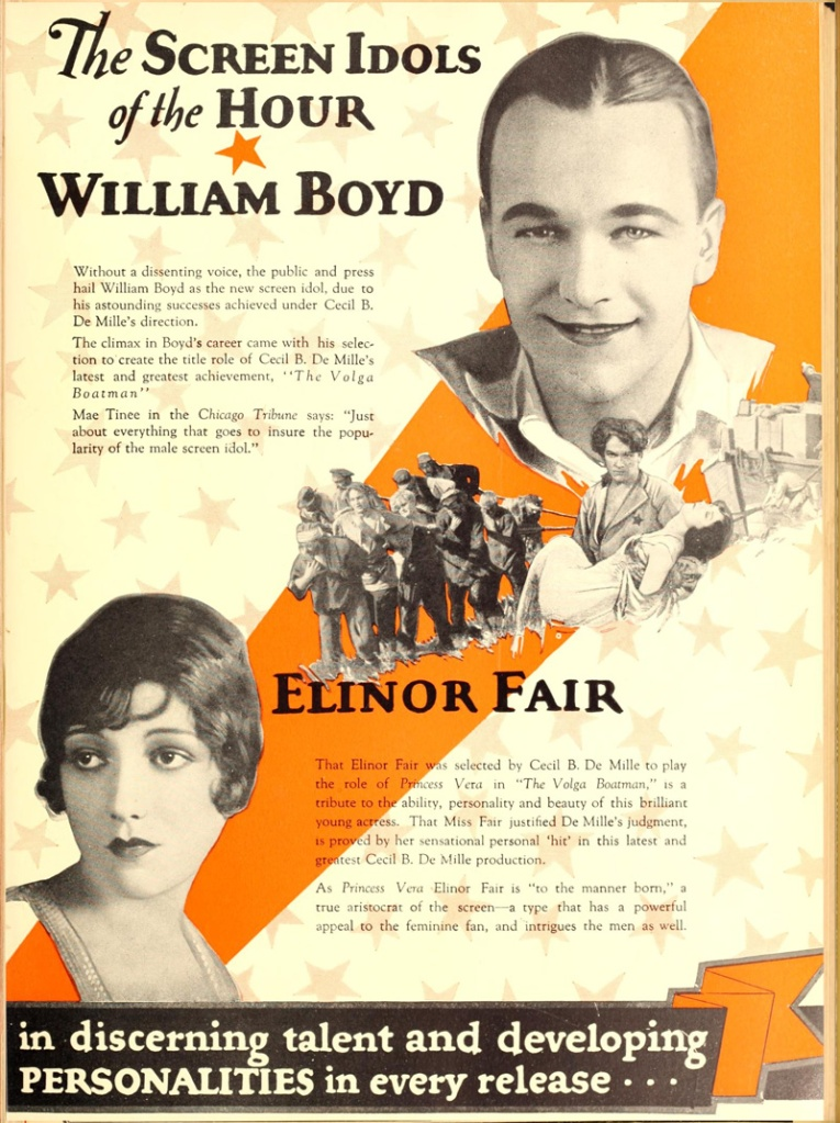 A vintage ad for stars in DeMille's stable. William Boyd and Elinor Fair were newlyweds at the time.