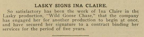 A contract for Ina. She only made one more film in 1915.