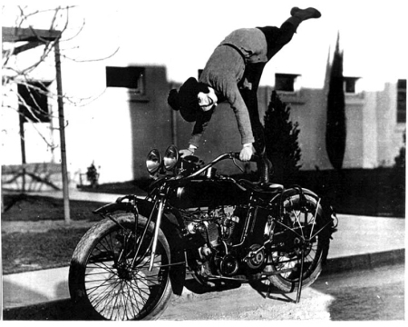 Mabel Normand on her motorcycle.