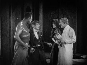 Johnny is surrounded by Ziska, Caliban and Rinaldo.