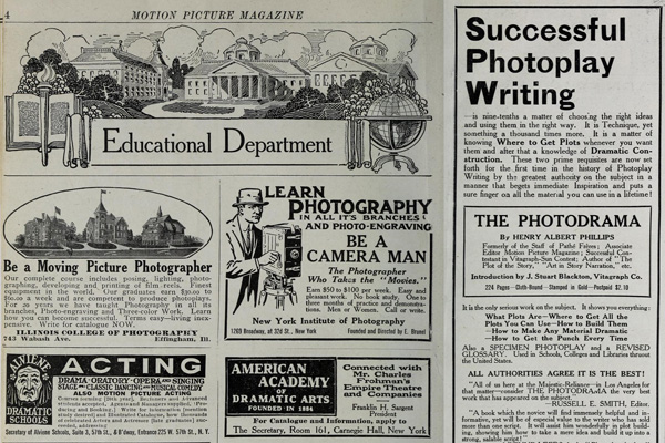 Advertising pages from a random 1914 issues of Motion Picture Magazine.