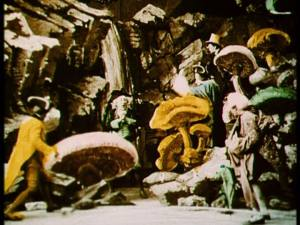 The Pathe colorists earn their money in the mushroom cave scene.