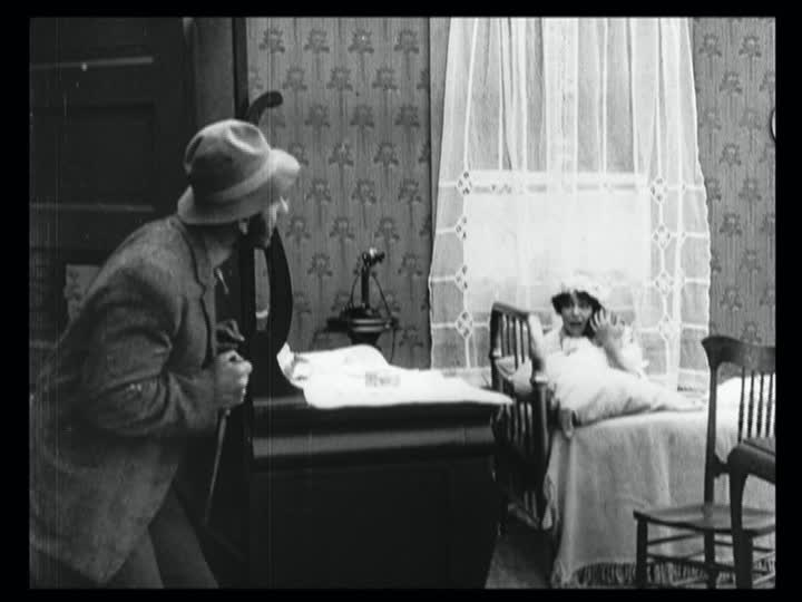 "The villainous tramp in Lois Weber's 1913 film ""Suspense"""
