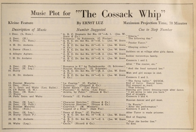 Original music cues for the film. Five reels lasted a maximum of 70 minutes.