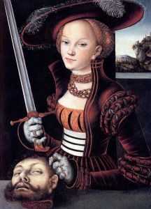 "Luchas Cranach the Elder. ""I got an amazing deal on this severed head! It matches my jaunty hat, no?"""